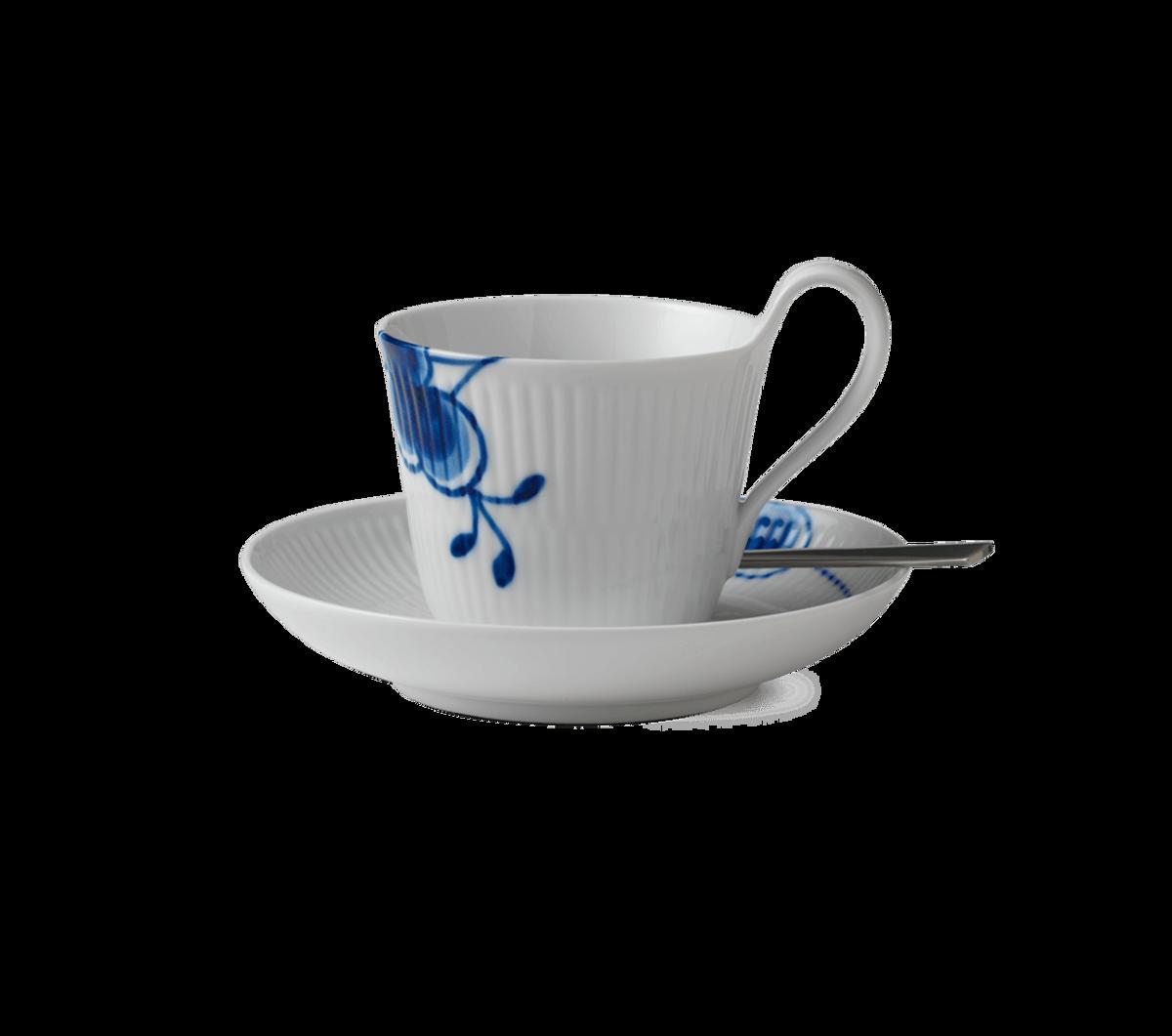 Blå Mega Riflet kopp med høy hank og skål 25 cl