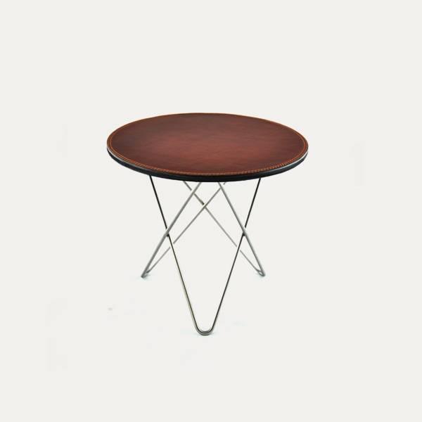Bilde av Mini O-Table Cognac Lær Ø40cm