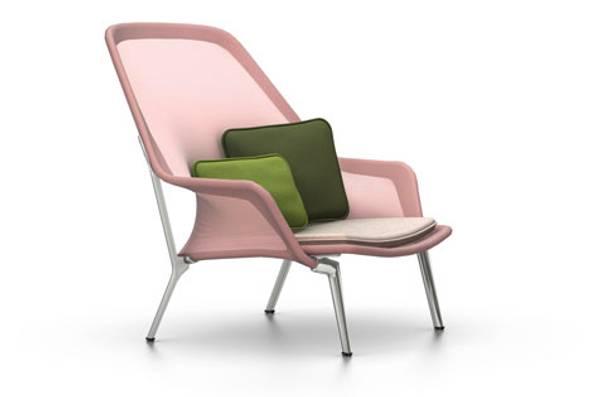 Bilde av Slow Chair Rosa/krom Vitra