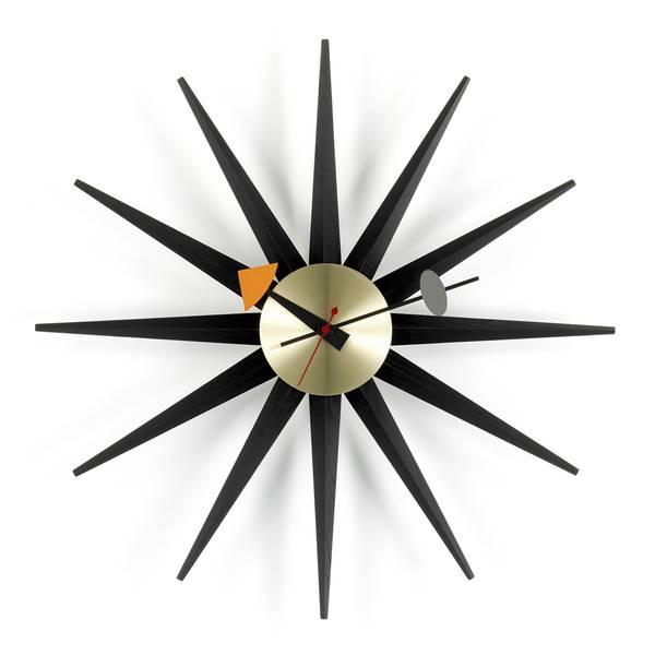 Bilde av Sunburst Clock sort/messing