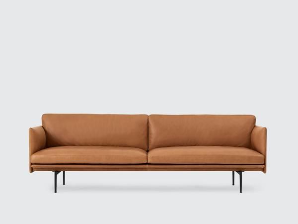 Bilde av Outline 3 seter sofa i skinn