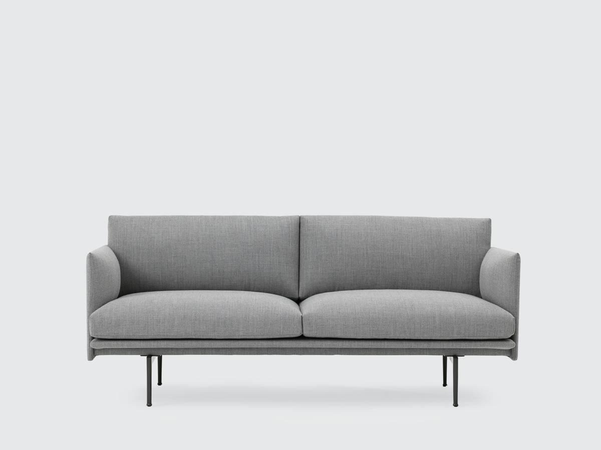 Outline 3 seter sofa i skinn Muuto
