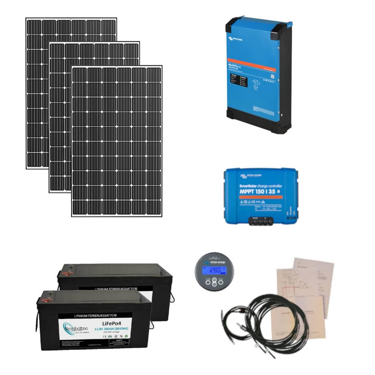 Kraftpakke 230V 3kW + 960W solceller - Byggesett