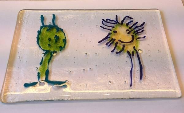 Bilde av Glassbilde av barnetegning 1