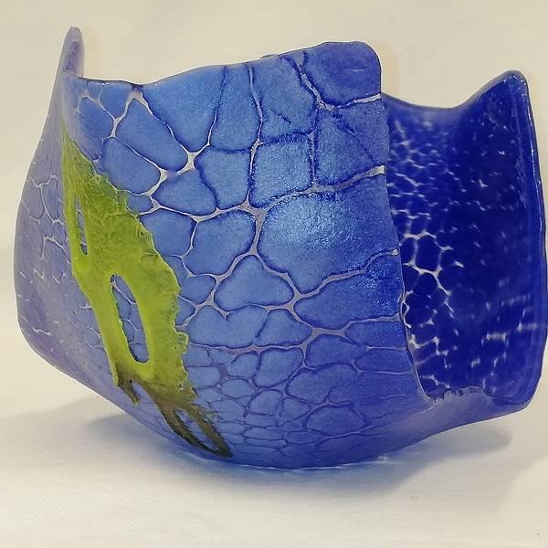 Bilde av Unik krakelert lysestake blå