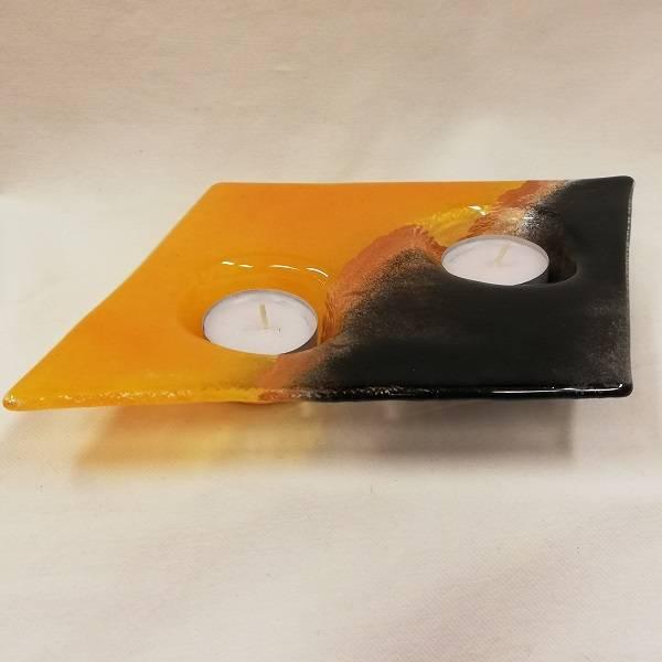 Bilde av Håndlaget T-lysestake i glass dobbel