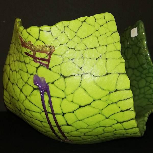 Bilde av Unik krakelert lysestake grønn