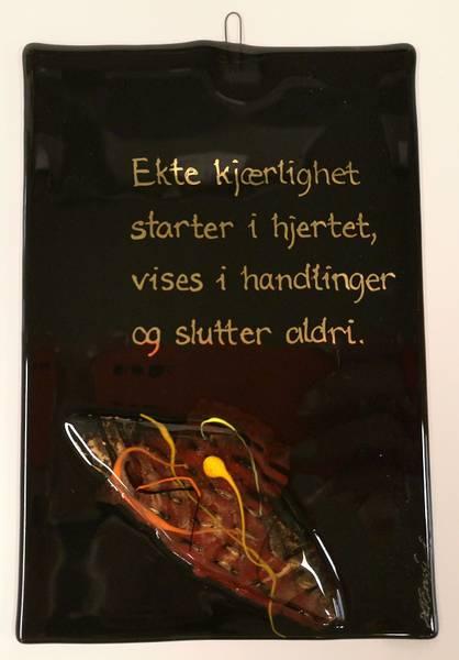 Bilde av Hustavle i glass, Ekte kjærlighet...