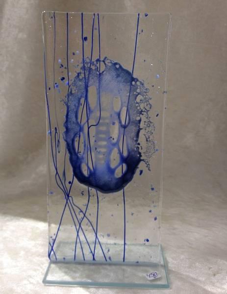 Bilde av Håndlaget abstrakt skulptur i glass, blå