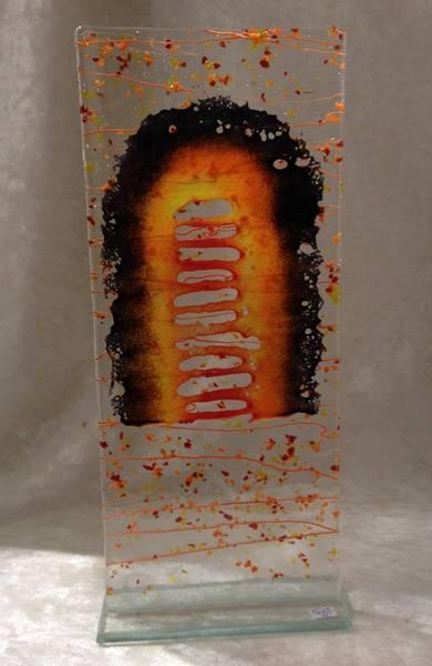 Bilde av Håndlaget skulptur i glass, rød/orange