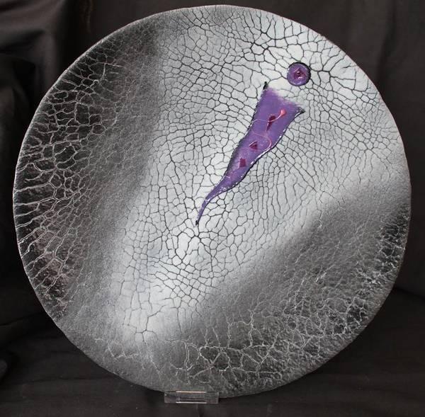 Bilde av Krakelert kunstfat i glass , sort og gråtoner