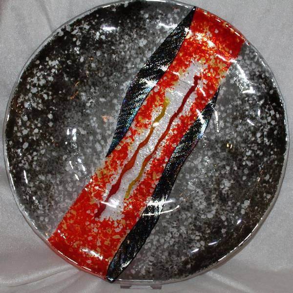 Bilde av Unikt håndlaget fat i glass, gråttorange