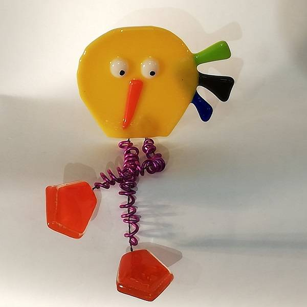 Bilde av Håndlaget fugl i glass, Crazy gul