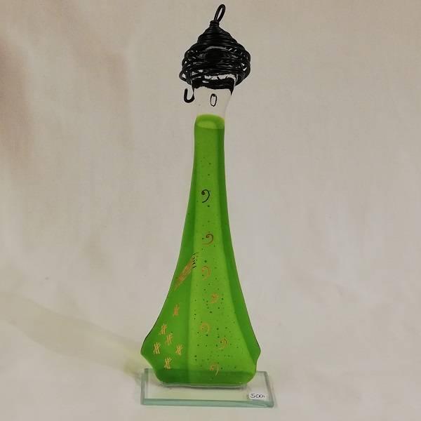 Bilde av Håndlaget syngedame i glass, vårgrønn