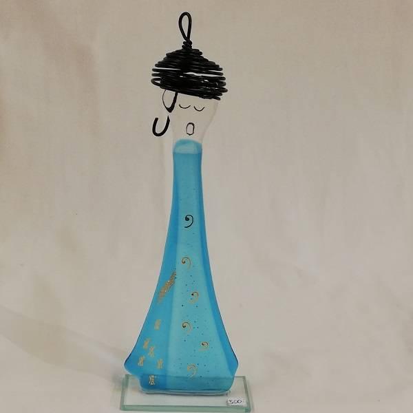 Bilde av Håndlaget syngedame i glass, lys turkis