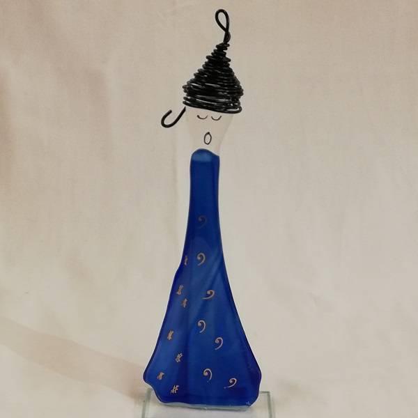 Bilde av Håndlaget syngedame i glass, blå