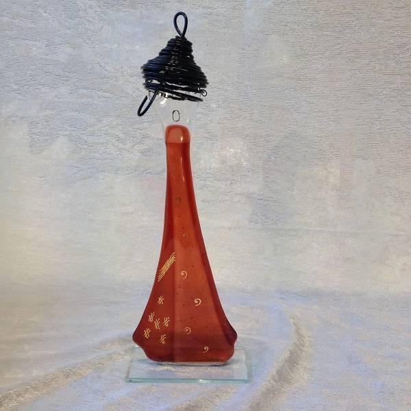 Bilde av Håndlaget syngedame i glass, mørk coral