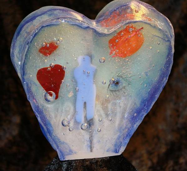 Unik håndlaget skulptur i glass, hjerte
