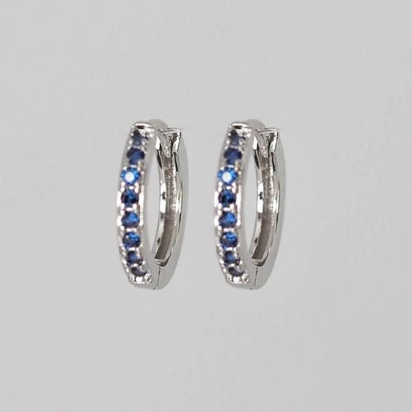 Allianseøredobber i sølv med blå stener