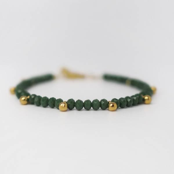 Armbånd gulldråper grønn