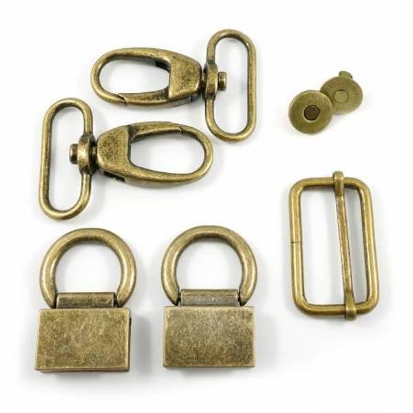 Veskemetall Double Flip Shoulder Bag Hardware Kit Antique Brass