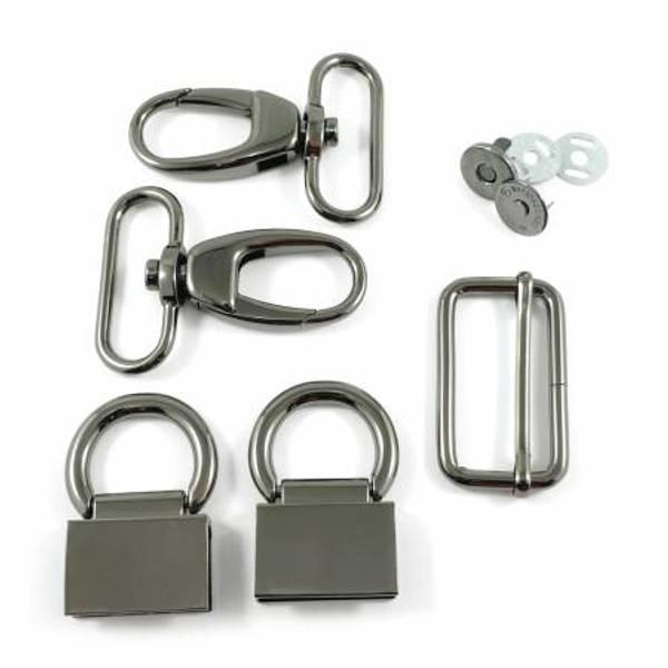 Veskemetall Double Flip Shoulder Bag Hardware Kit Gunmetal