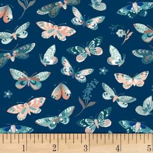 Bilde av Gray Birdsong Butterflies stoff