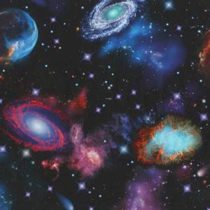 Bilde av Bomull stoff Space Nightfall Stars Galaxy