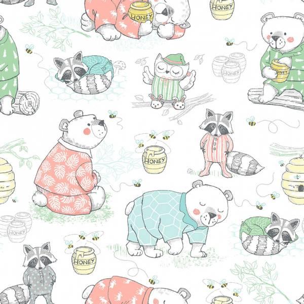 Flanell hvit bjørn og ugler