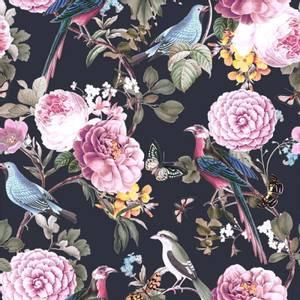 Bilde av Bomulljersey med fugler og blomster svart