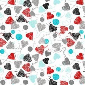 Bilde av Bomullstoff Hjerter Garn hvit