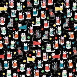 Bilde av Bomull stoff Svart Katt og Garn