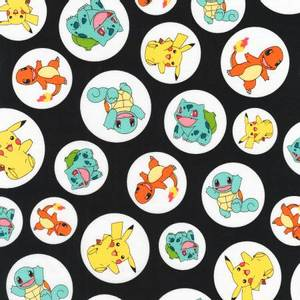 Bilde av Bomull stoff med Pokemon svart