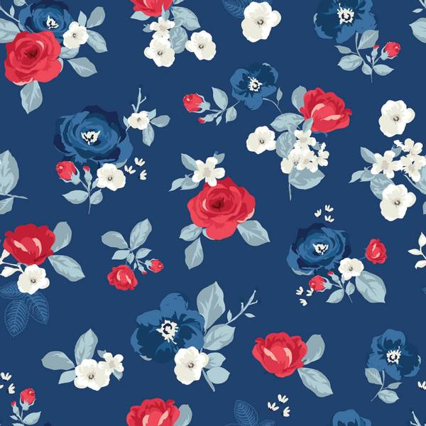 Bomull stoff Land Of Liberty Main Navy blomster