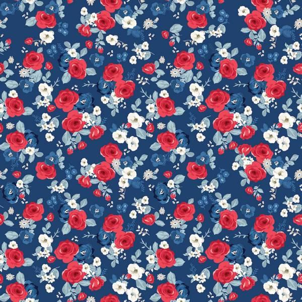 Bomull stoff Land Of Liberty Main Navy blå blomster