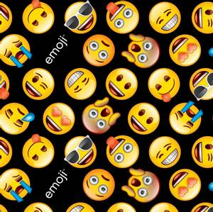 Bilde av Bomull stoff med Emoji svart