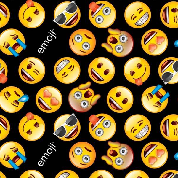 Bomull stoff med Emoji svart