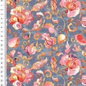 Bilde av Bomulljersey digital paisley blomster lys jeans