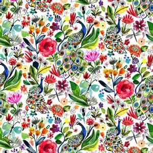 Bilde av Bomull stoff White Peacocks