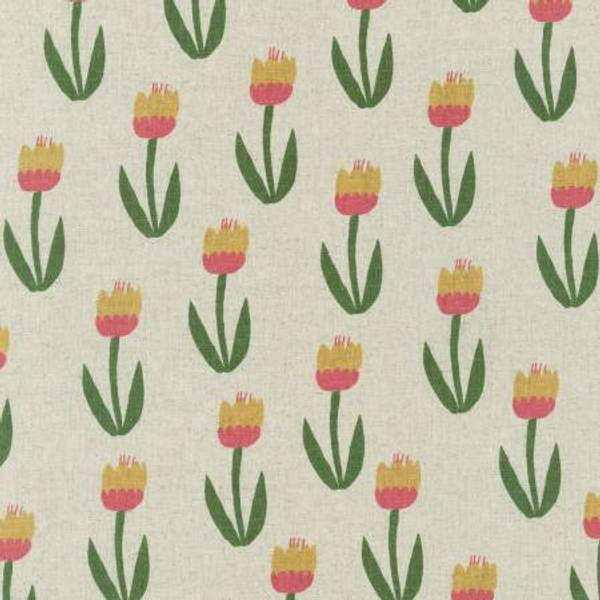 Cotton Flax Canvas med blomster