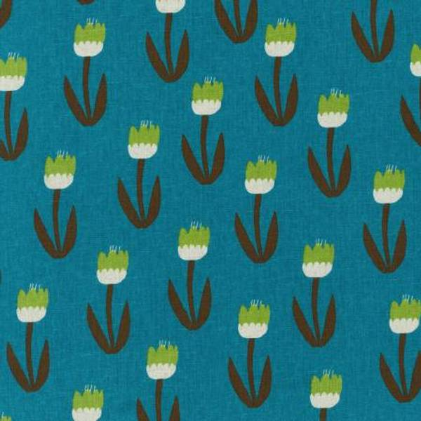 Cotton Flax Canvas med blomster petrol turkis