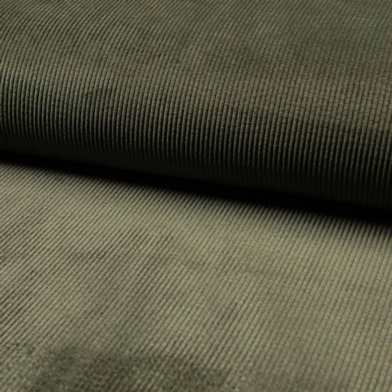 Jersey vasket Cord med veldig lite stretch Olive