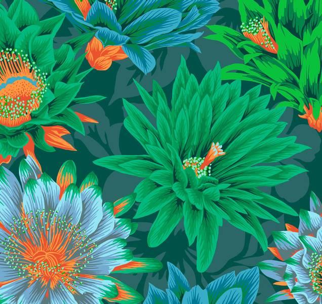 Kaffe Fassett Bomull stoff Cactus Flower - grønn
