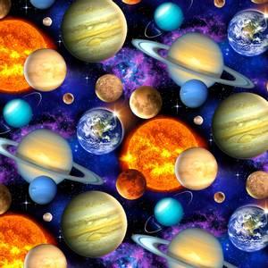 Bilde av Bomull stoff Black Packed Planets