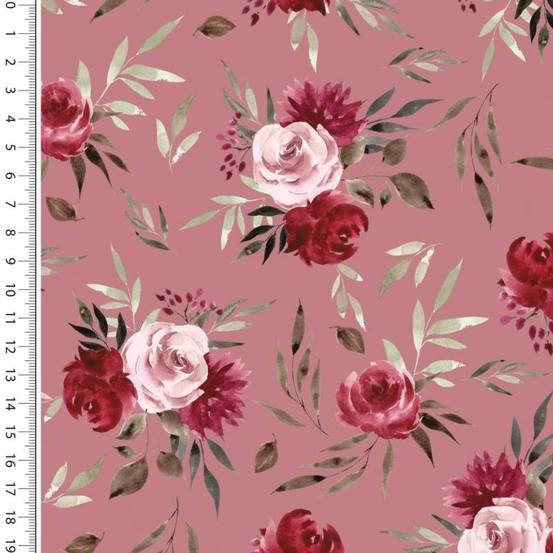 French Terry Digital roses gammelrosa