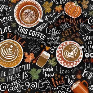 Bilde av Bomull stoff Black Pumpkin Spice Latte