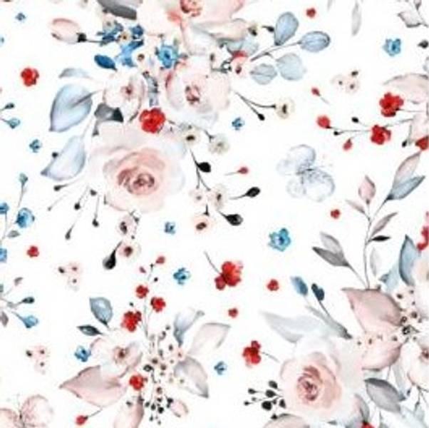 viskose jersey crepe med søt blomster hvit