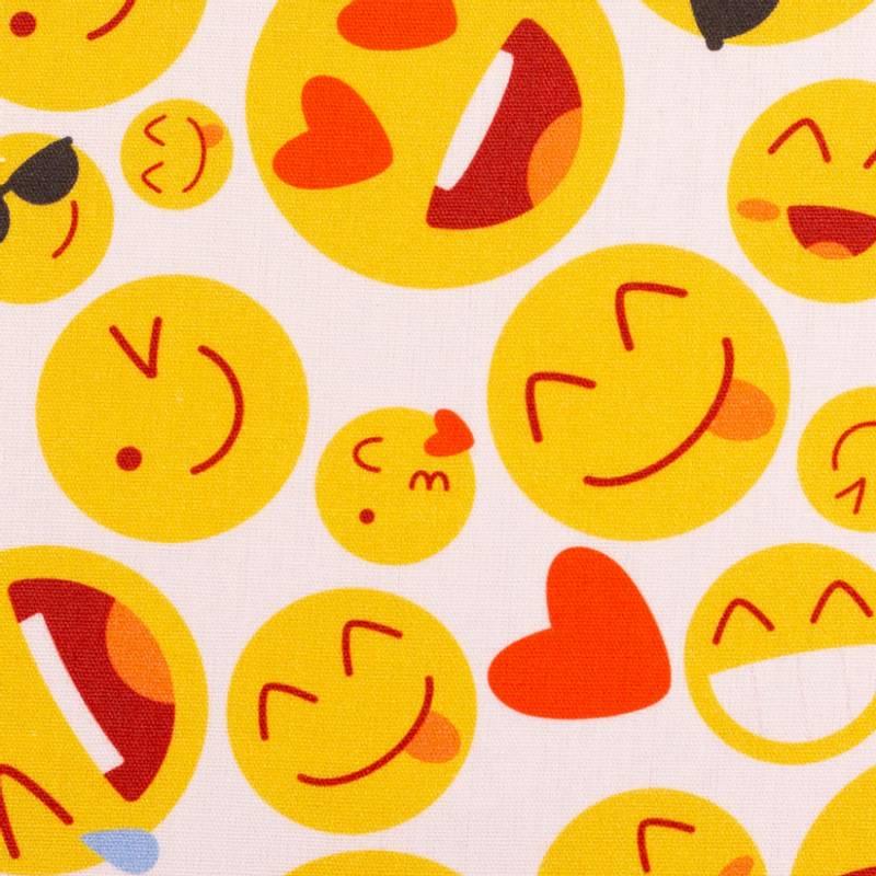 Bomull stoff Emojis hvit