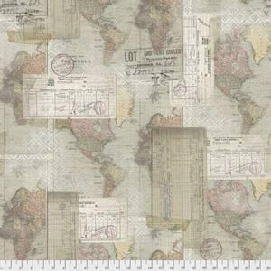 Bilde av Bomull stoff Tim Holtz, Memoranda III, Word Map