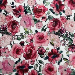 Bilde av French Terry Digital med Garden Blomster hvit